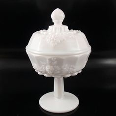 Westmoreland Paneled Grape milk glass compote with lid