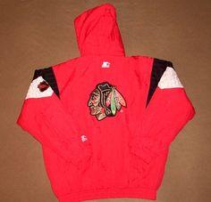 VINTAGE Chicago Blackhawks JACKET Starter HOCKEY Parka NHL X-Large WINTER Warm | eBay