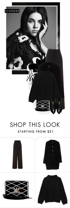 """""""All black"""" by nicerose ❤ liked on Polyvore featuring Jaeger, Balenciaga, Louis Vuitton, Monki, Yves Saint Laurent, classic and black"""