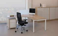 Versa White Oak Crescent Desk X3Z121 Storage