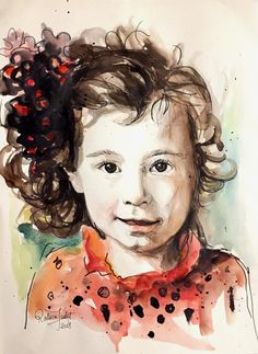 Items similar to Child Portrait - Custom made - Hand Painted - Watercolor Artist on Etsy Watercolor And Ink, Hand Painted, Etsy Shop, Portrait, Children, Unique Jewelry, Handmade Gifts, Anime, Vintage