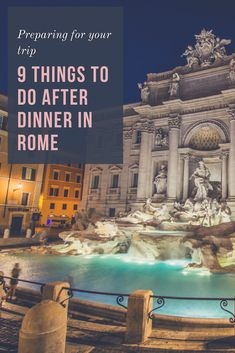 Ever wonder what to do at night while visiting Rome? Well, no need to worry! There's still a lot to do and see in Rome after the sun goes down, and there's no shortage of after dinner activities in the city. Italy Travel Tips, Rome Travel, Travel Destinations, Travel Guide, Holiday Destinations, Travel Europe, Budget Travel, Lake Como, Places In Italy