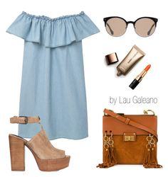 """denim day!"" by lauvgaleano on Polyvore featuring MANGO, Rebecca Minkoff, Chloé, Balenciaga, Nude by Nature and Bobbi Brown Cosmetics"