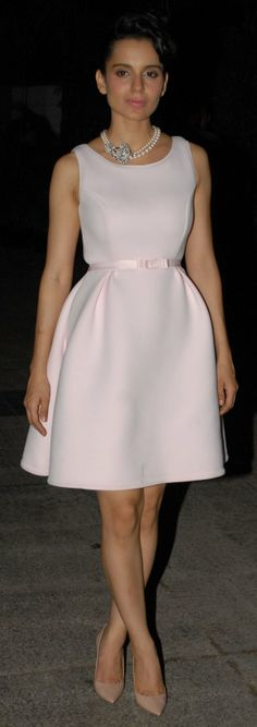 Bollywood actor Kangana Ranaut celebrated her birthday at her residence in Khar on March 2014 in Mumbai, India. Dress Skirt, Peplum Dress, Dress Up, Bollywood Saree, Bollywood Fashion, Western Outfits, Indian Outfits, Short Dresses, Formal Dresses