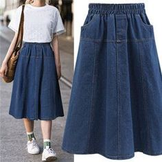 Long Skirt Fashion, Denim Fashion, Fashion Dresses, Denim Skirt Outfits, Minimalist Fashion Women, Skirt Patterns Sewing, Cute Skirts, Modest Outfits, Rock