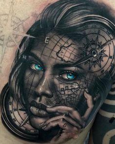 Search inspiration for a Realistic tattoo. Pirate Girl Tattoos, Skull Girl Tattoo, Girl Face Tattoo, Girl Arm Tattoos, Upper Arm Tattoos, Girls With Sleeve Tattoos, Hand Tattoos For Guys, Tatoo Art, Skull Tattoos
