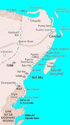 Mapa de xel ha mexico ♡