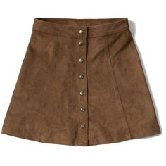Abercrombie & Fitch Faux Suede A-Line Skirt (15.245 CLP) ❤ liked on Polyvore featuring skirts, bottoms, saias, brown, a line skirt, abercrombie fitch skirt, faux suede skirt, brown a line skirt and faux suede a line skirt