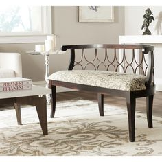 Safavieh Norma Dark Brown/ Floral Scroll Bench - Overstock™ Shopping - Great Deals on Safavieh Benches