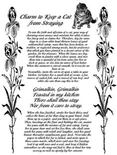 Magick Spells: Charm to Keep a Cat from Straying