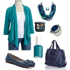 Shades of Teal and Navy, created by carleighann on Polyvore