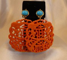KJL Kenneth Jay Lane Faux Coral & Turquoise Asian Style Lucite Earrings - Excellent Condition by IndulgeVintageAndArt on Etsy