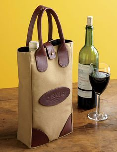 Made in America, Made in USA.  Wine Bottle Tote Bag - Canvas Wine Tote --