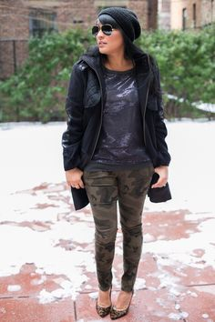 fabulatina camo & sequins (and snow, again!) #holidaylook #wintertime #howtowear
