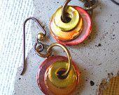 Washer Earrings: Summer Romance - Hardware Jewelry - Industrial Jewelry - Washer Jewelry - Unique Jewelry - CIJ - Christmasinjuly