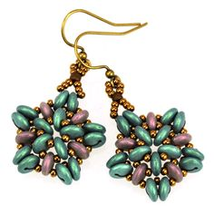 Free Earrings Pattern Using Shaped Glass Beads by Jennifer VanBenschoten  featured in Bead-Patterns.com Newsletter