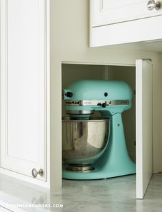 Same kitchen, different view. Hidden appliance storage. House of Turquoise.