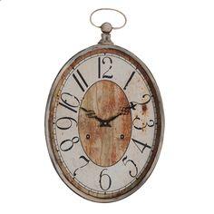 Oval cream shabby chic wall clock