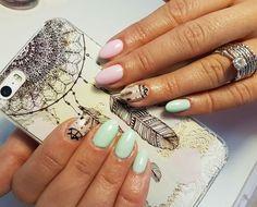 #dreamcatcher #nails #mintnails #pinknails #springnails