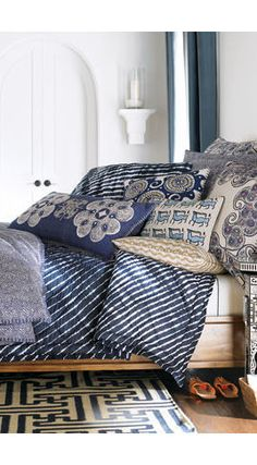 John Robshaw Fabrics and mixed prints - sheets, bedding, pillows in indigo blue