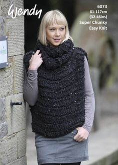 b841bb80ce3fe2 Easy Knit Sleeveless Cowl Jumper in Wendy Harris Super Chunky - Leaflet 6073