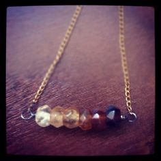 Hessonite garnet, vintage chain. Vauxswiftjewelry.com