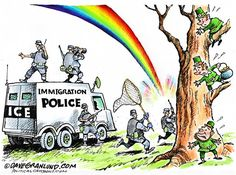 Dave Granlund - Politicalcartoons.com - St Pats Day and ICE roundup COLOR - English - saint patricks, saint Patricks, day, irish, Ireland, beer, rainbow, pot o gold, pot of gold, luck, lucky, illegal, illegals, roundup, ice , police, green, st paddy, st paddys day