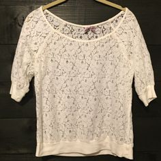 Boho Cream lace top Cream top, floral pattern see through cute over a bandeau or bikini and shorts ❤️ Tops