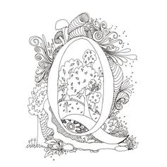 Monogram, Initial, Colour-Me-In Illuminated Letters - Q, original art  drawings by melanie j cook