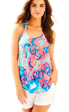 f85b9fa37c4319 The Cordelia Top is a printed easy fit tank with a racerback. Wear this tank.  Lilly Pulitzer
