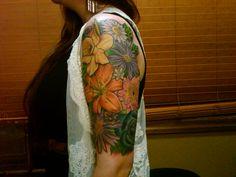 girl flower half sleeve tattoos