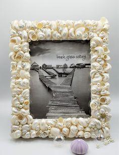 Beach decor seashell frame for coastal decor. Shell frame, seashell gifts, seashell decor Seashell Picture Frames, Seashell Frame, Wedding Picture Frames, Wedding Frames, Beach Wedding Gifts, Unique Wedding Gifts, Beach Grass, Custom Mirrors, Coastal Decor