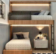 Kids Bedroom Designs, Bunk Bed Designs, Room Design Bedroom, Home Room Design, Small Room Bedroom, Small Rooms, Bedroom Decor, Small Spaces, Bunk Bed Rooms