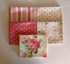 Free Spirit BAREFOOT ROSES Cotton Fabric Fat Quarter Bundle of 5 #1  FQ160