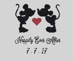 Counted Cross Stitch Pattern Disney Mickey & Minnie Disney Cross Stitch Patterns, Counted Cross Stitch Patterns, Crochet Stitches Chart, Stitch Cartoon, Wedding Cross, Cross Stitch Boards, Cross Stitch Finishing, Charts And Graphs, Peacock Wedding