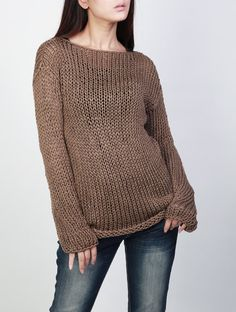 Hand knit sweater Eco cotton long sweater in Mocha by MaxMelody