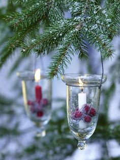 Candles and cranberries