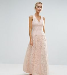 Little Mistress Petite Allover Lace Full Prom Maxi Dress - Pink