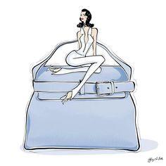 """Weekend wear accompanied with a Hermes """"Bleu Lin"""" Blue Togo bag  Fashion illustration by Tiffany La Belle www.tiffanylabelle.com"""