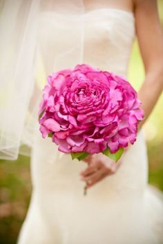 Pink single stem wedding bouquet {Photo by Abby Rose Studio via Project Wedding}