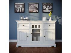 Komoda Belluno Elegante, 3-dverová, biela, masív, borovica Solid Pine, The Prestige, Drawers, Cabinet, Storage, Wood, Furniture, Home Decor, Elegant