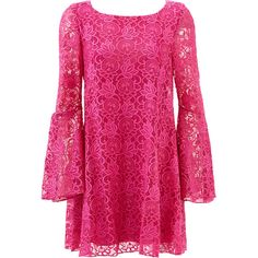 Rental Badgley Mischka Fuchsia Lace Bell Sleeve Shift ($50) ❤ liked on Polyvore featuring dresses, pink, pink long sleeve dress, fuschia pink dress, long-sleeve lace dress, open back dress and long sleeve lace dress