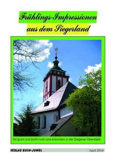 Frühlingsimpressionen in Bildern und Texten zum Siegerland: über buch-juwel.de frei zum Anschauen als Blättermagazin aufrufbar.