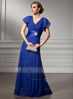 A-Line/Princess V-neck Sweep Train Chiffon Lace Mother of the Bride Dress With Beading Cascading Ruffles (008005755)