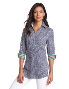 Foxcroft Women's Status Print With Border Shirt, Navy, 16 Foxcroft. $84.00