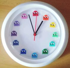 Shop for clock on Etsy, the place to express your creativity through the buying and selling of handmade and vintage goods. Perler Bead Disney, 3d Perler Bead, Perler Bead Templates, Pearler Beads, Fuse Beads, Hama Beads Design, Hama Beads Patterns, Beading Patterns, Deco Gamer