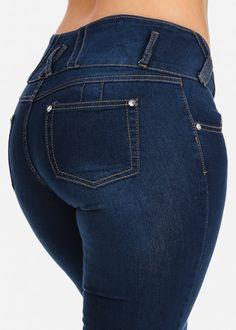 Mid Rise Blue Denim Levanta Cola Skinny Jeans