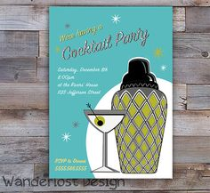 Custom Retro Mad Men Cocktail Party Invite Card Martini Shaker