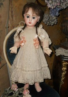 Pretty Bebe Jumeau from France Attic Found - WhenDreamsComeTrue #dollshopsunited