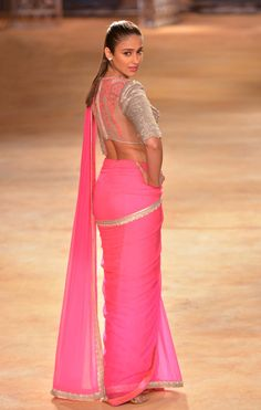 The Brilliant, Beautiful Actor @ileana_official in #Pink n Silver #Saree <3